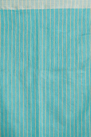 Light Blue Blended Cotton Saree With Temple Border Akasha Roopkatha - A Story of Art