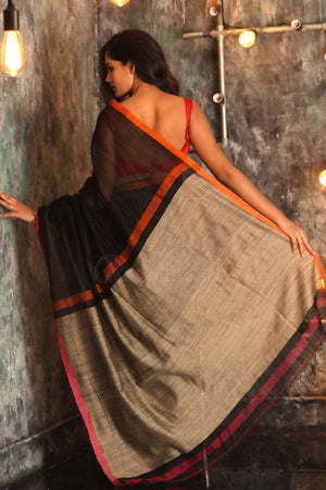 Black Pure Cotton Saree With Thin Border