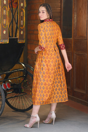 Yellow Ochre Kalamkari Dress