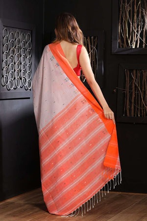 Pale Pink Pure Cotton Saree With Woven Border
