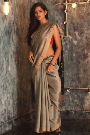 Grey Matka Silk Saree With Woven Pallu Kriti Classics Roopkatha - A Story of Art