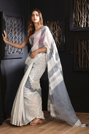 White Blended Cotton Saree With Grey Stripes Akasha Roopkatha - A Story of Art