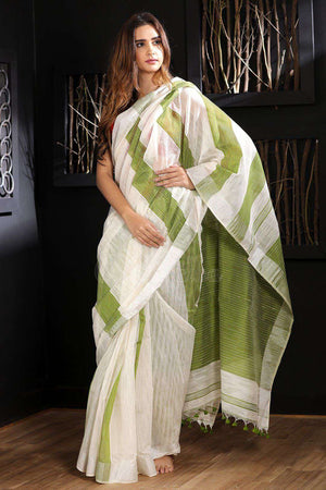 White Blended Cotton Saree With Green Stripes Akasha Roopkatha - A Story of Art