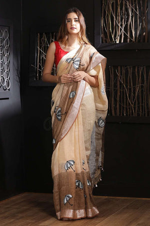 Blush & Brown Linen Saree With Embroidery Earthen Collection Roopkatha - A Story of Art