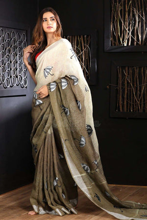 Off-White & Cedar Brown Linen Saree With Embroidery Earthen Collection Roopkatha - A Story of Art