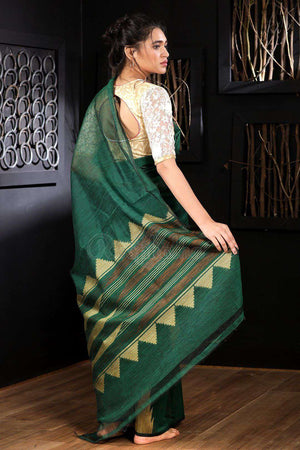 Bottle Green Chanderi Silk Saree With Striped Pallu