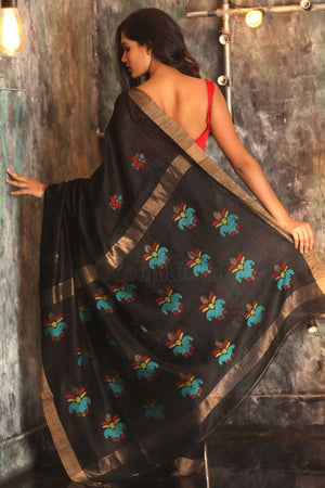 Black Matka Silk Saree With Woven Pallu Kriti Classics Roopkatha - A Story of Art