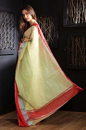 Pale Green Chanderi Cotton Saree With Red Border