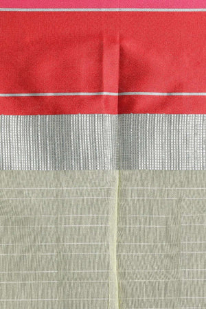 Pale Green Chanderi Cotton Saree With Red Border VARANASI CHRONICLES Roopkatha - A Story of Art