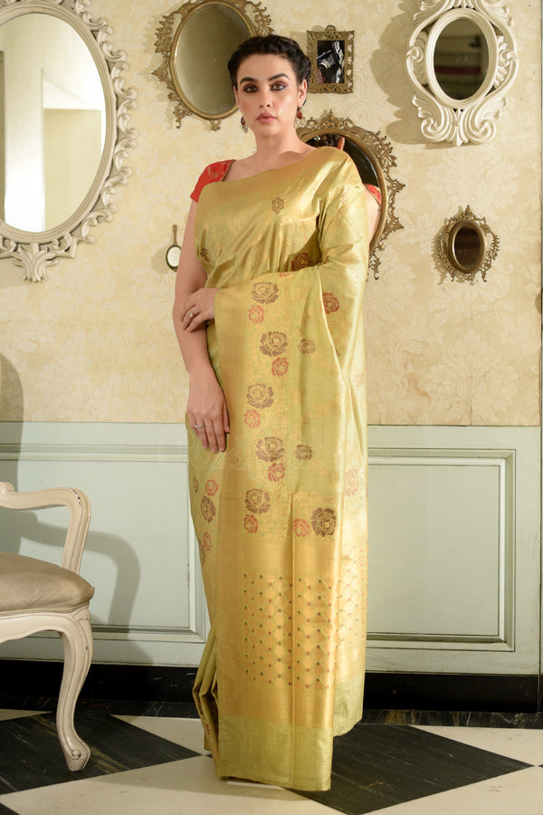 Chartreuse Green Banaras Silk Saree With Full Body Woven Zari Floral Designs