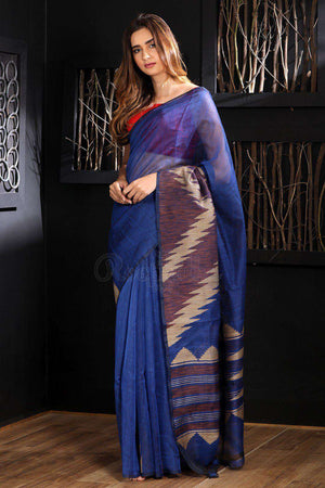 Blue Chanderi Silk Saree With Striped Pallu