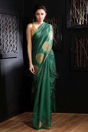 Green Chanderi Cotton Saree With Zari VARANASI CHRONICLES Roopkatha - A Story of Art