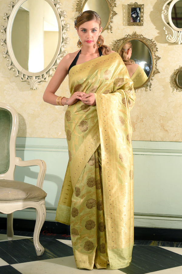 Faded Green Banaras Silk Saree With Full Body Woven Zari Floral Designs