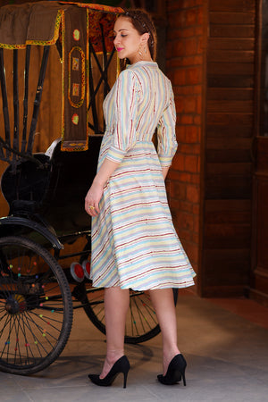 Multicolor Striped Flaired Dress