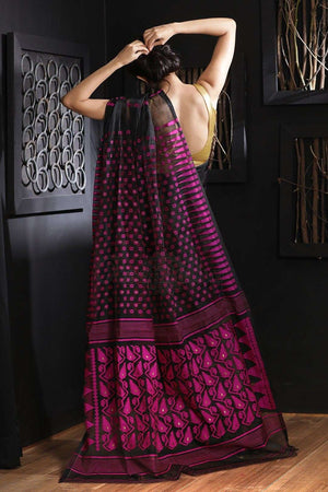 Black Jamdani Saree With Thread Work Jamdani Weave Roopkatha - A Story of Art