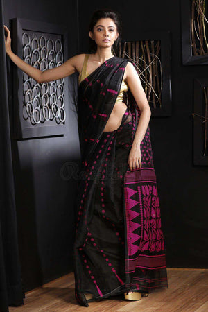 Black Jamdani Saree With Thread Work