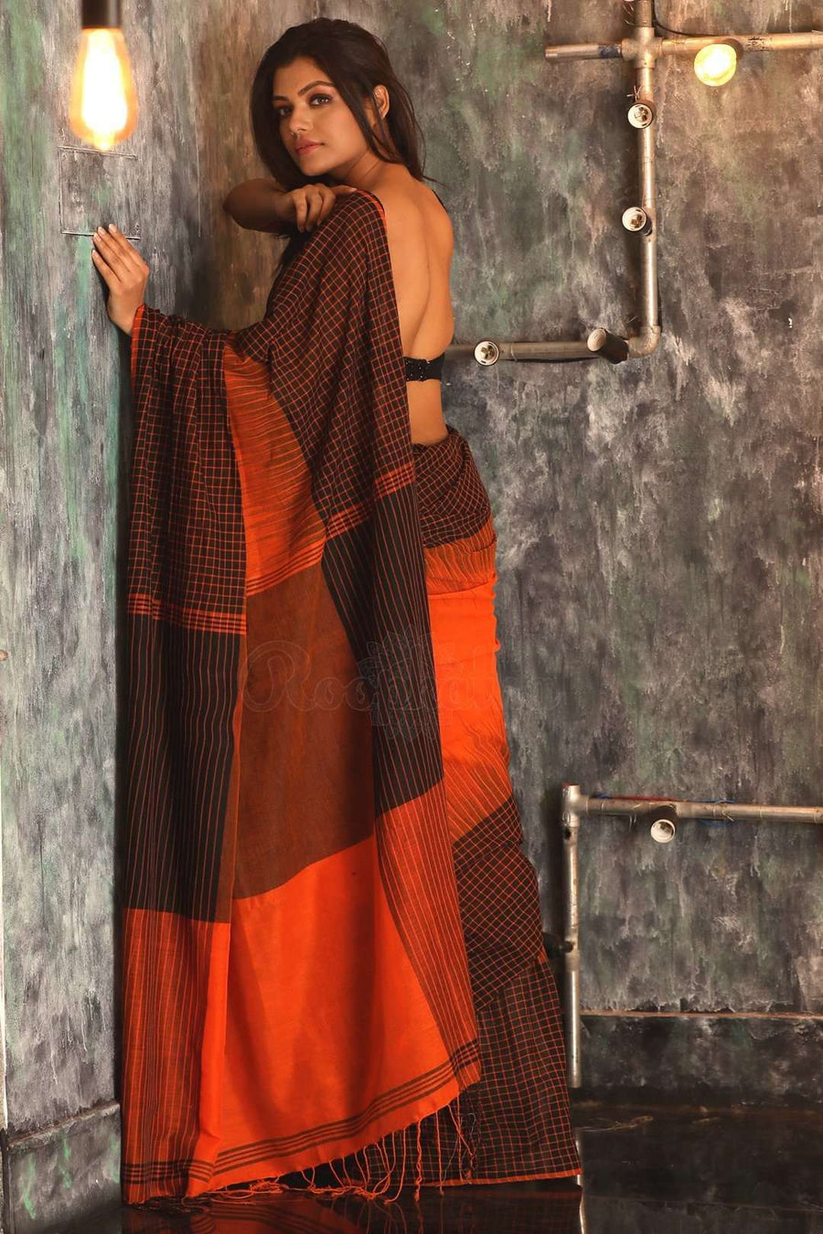 Orange Pure Cotton Saree With Checkered Border Cotton Threads Of India Roopkatha - A Story of Art