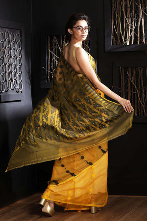Yellow & Black Jamdani Saree With Thread Work Jamdani Weave Roopkatha - A Story of Art