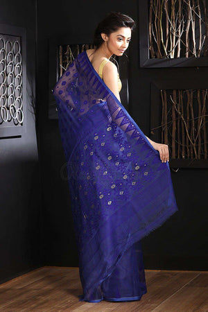 Blue Jamdani Saree With Zari Jamdani Weave Roopkatha - A Story of Art
