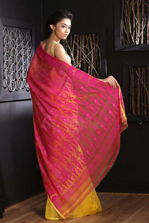 Yellow & Pink Jamdani Saree With Thread Work