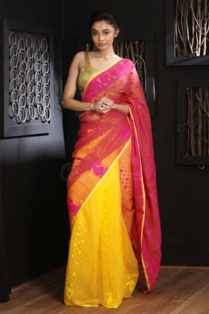 Yellow & Pink Jamdani Saree With Thread Work Jamdani Weave Roopkatha - A Story of Art