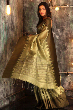 Olive Green Matka Silk Saree With Temple Border Kriti Classics Roopkatha - A Story of Art
