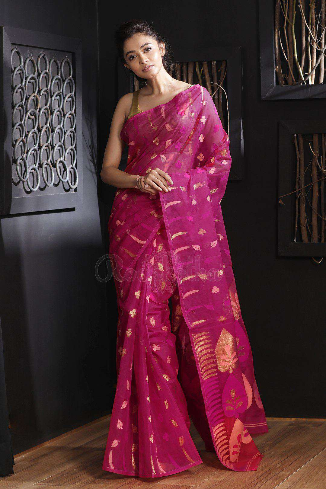 91bd459b7af24 Fuchsia Jamdani Saree With Zari - Roopkatha - A Story of Art
