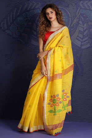 Yellow Handloom Cotton Saree With Woven Pallu Akasha Roopkatha - A Story of Art