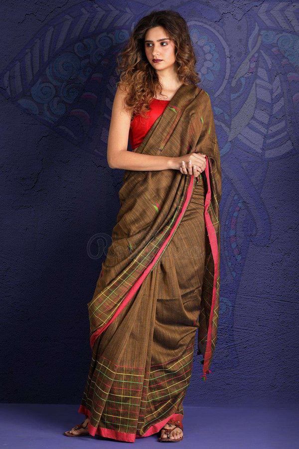 Brown Pure Cotton Saree With thread Stitch