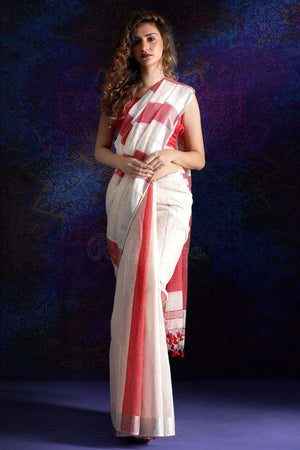 White Handloom Cotton Saree With Zari Border