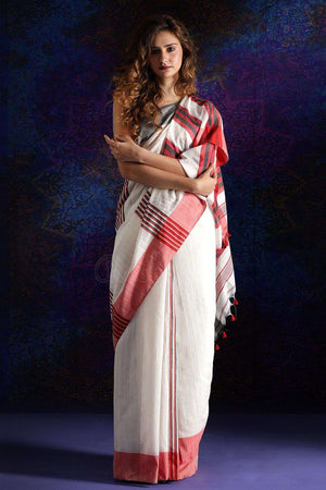 White Handloom Cotton Saree With Dual Border