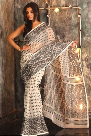 White Jamdani Saree With Black Thread Work Jamdani Weave Roopkatha - A Story of Art