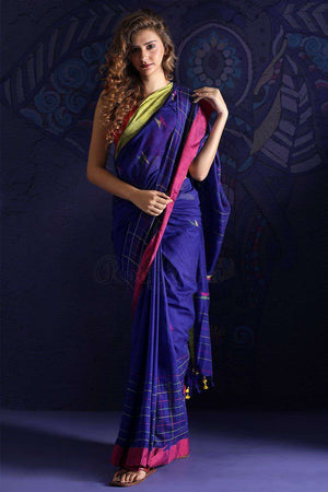 Blue Pure Cotton Saree With Thread Stitch Cotton Threads Of India Roopkatha - A Story of Art