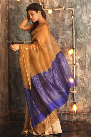 Dijon Matka Silk Saree With Blue Pallu Kriti Classics Roopkatha - A Story of Art