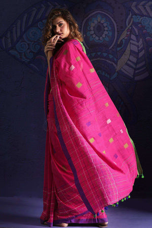 Pink Pure Cotton Saree With Thread Stitch