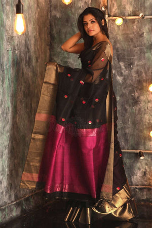 Black Handloom Silk Saree With Zari Butta Kriti Classics Roopkatha - A Story of Art