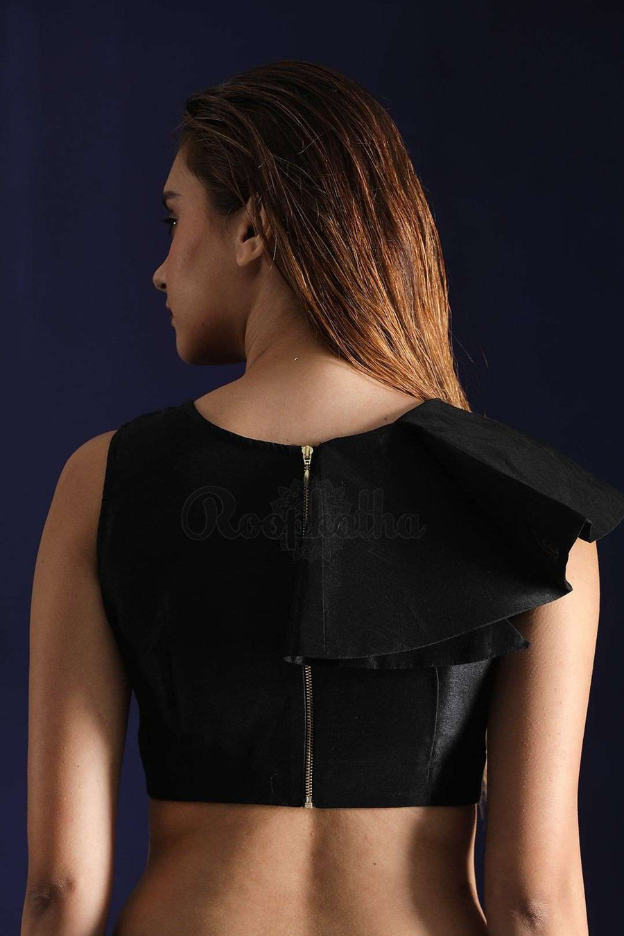 Black Dupion Blouse With Shoulder Frill Blouse Roopkatha - A Story of Art