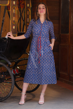 Deep Blue Printed Gathered Dress