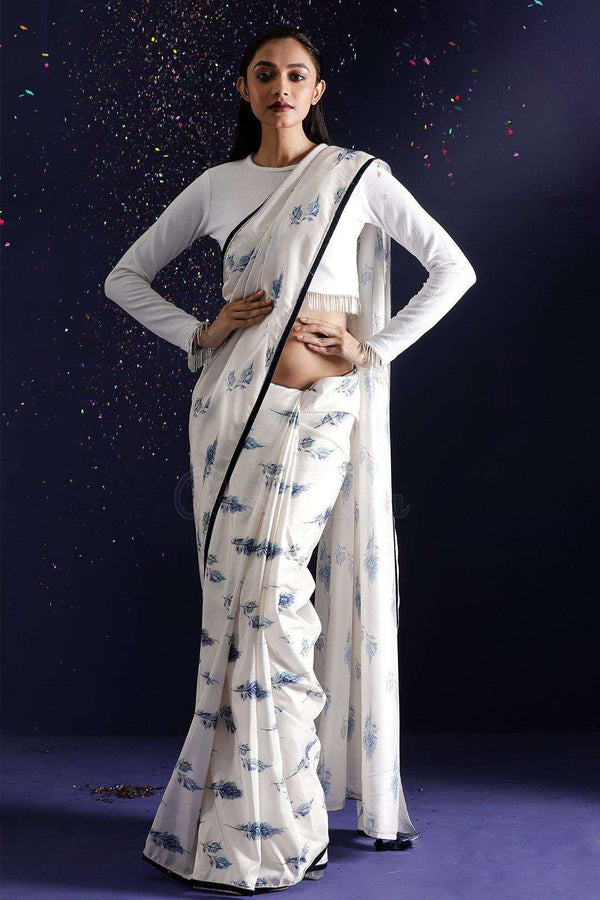 Off-White Printed Saree With Velvet Border
