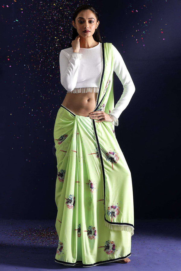 Pistachio Printed Saree With Beaded Border
