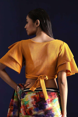 Ocre Yellow Lycra Blouse With Waist Fit Blouse Roopkatha - A Story of Art