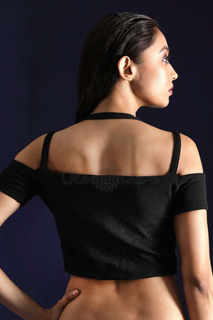 Black Lycra Blouse With Cold Shoulder