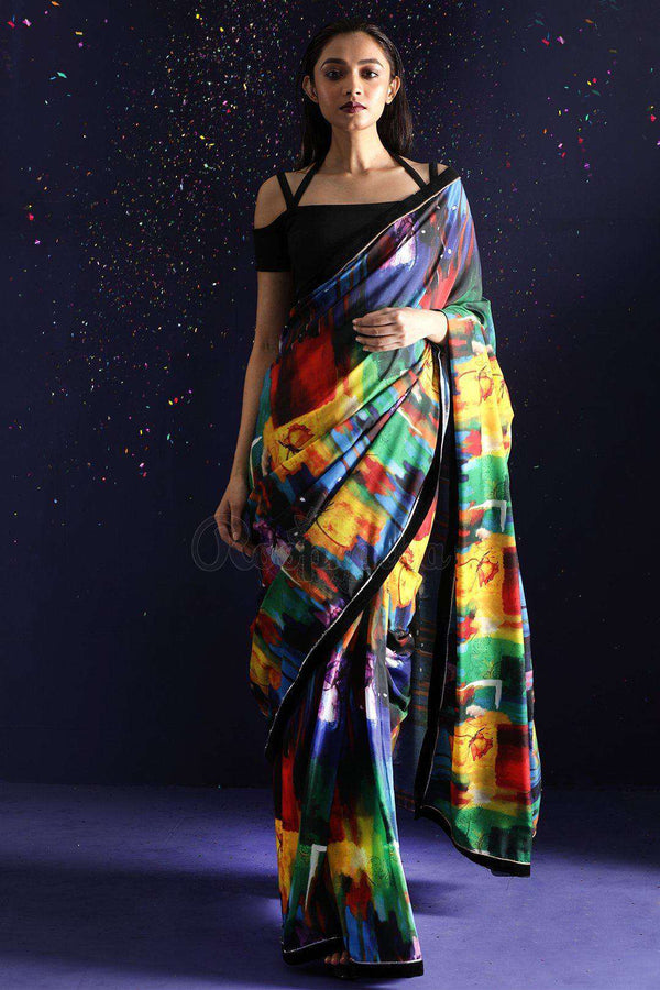 Multicolor Printed Saree With Black Border