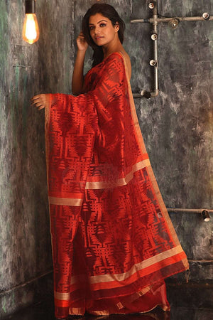 Red Matka Silk Saree With Orange Thread Work Kriti Classics Roopkatha - A Story of Art