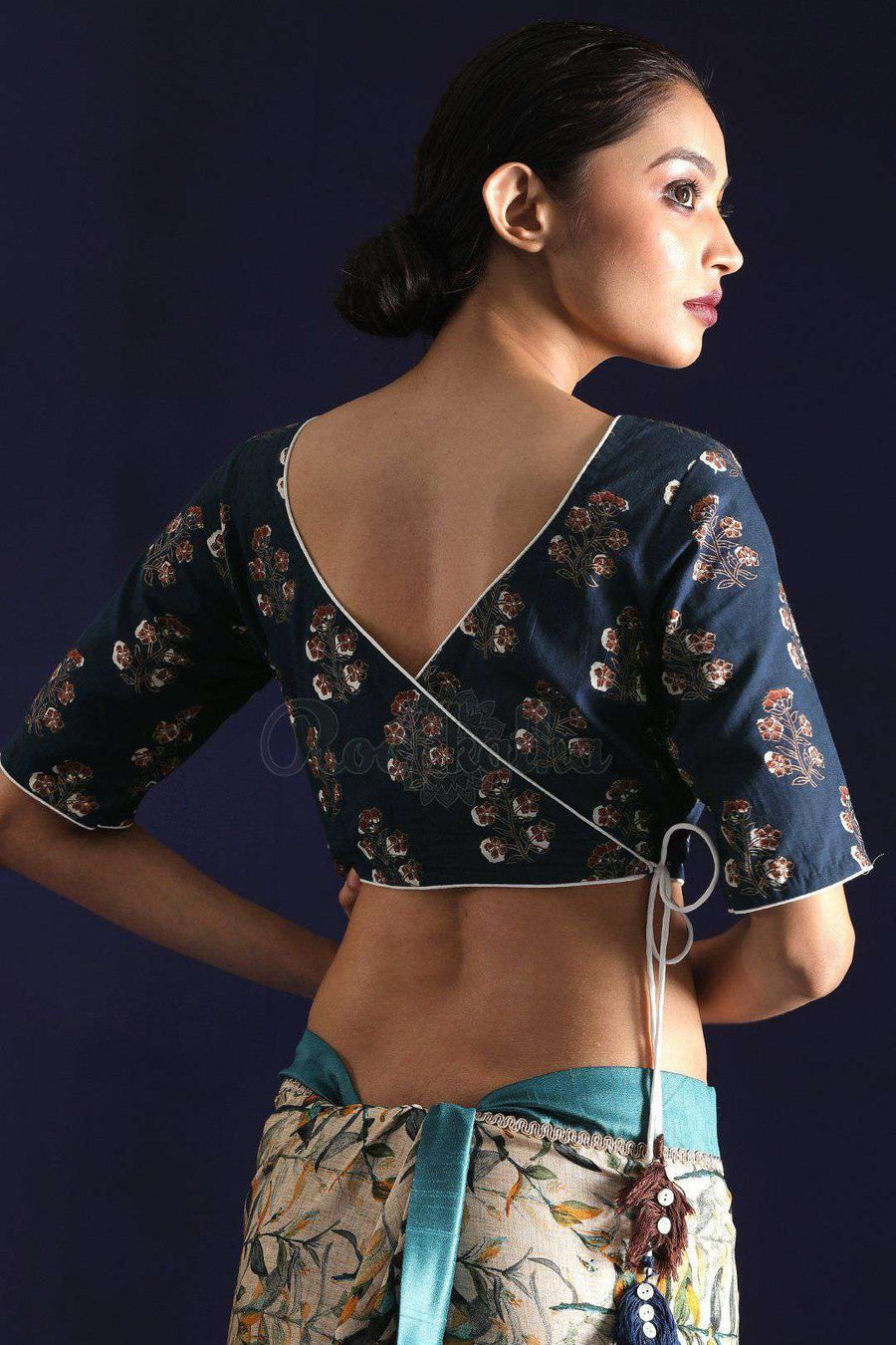 Indigo Blue Cotton Blouse With Kalamkari Prints