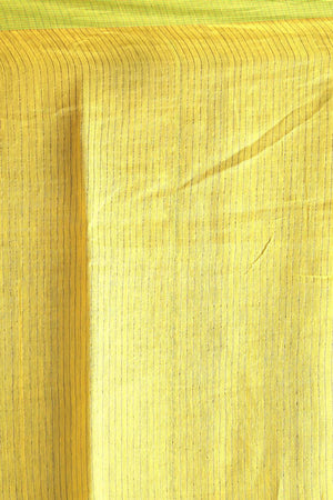 Light Yellow Cotton Silk Saree With Green Border Akasha Roopkatha - A Story of Art