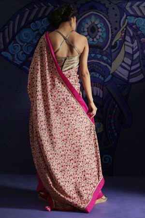 Beige Printed Saree With Plain Border