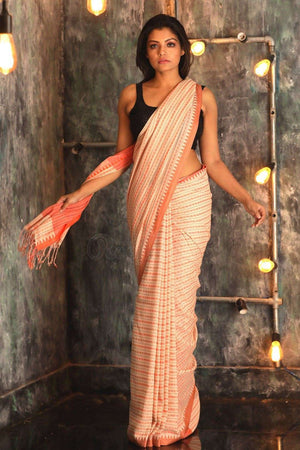 White Pure Cotton Saree With Woven Design Cotton Threads Of India Roopkatha - A Story of Art