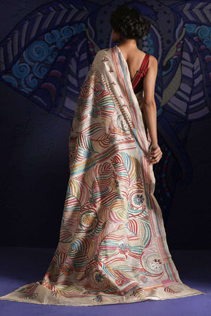 Beige Tusser Silk Saree With Kantha Stitch