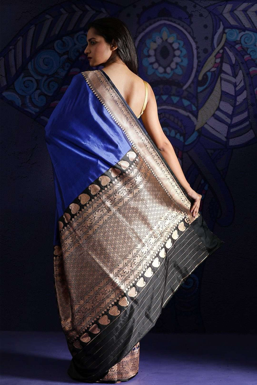 Blue Banaras Silk Saree With Zari Kriti Classics Roopkatha - A Story of Art